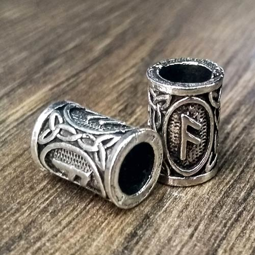 Viking Beard Beads Ansuz Rune Norse Futhark Beard Rings