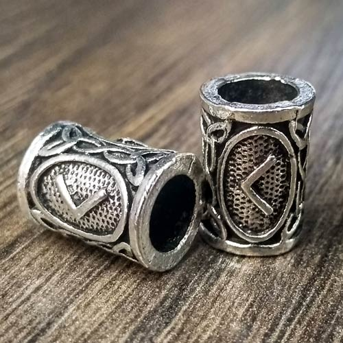 Viking Beard Beads Kenaz Rune Norse Futhark Beard Rings