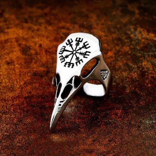 Animal Skull Ring Raven Skull - Engraved Vegvisir and Valknut