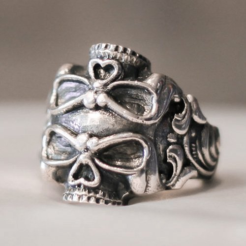 Biker Ring Motorcycle Ring - Double Skull Ring