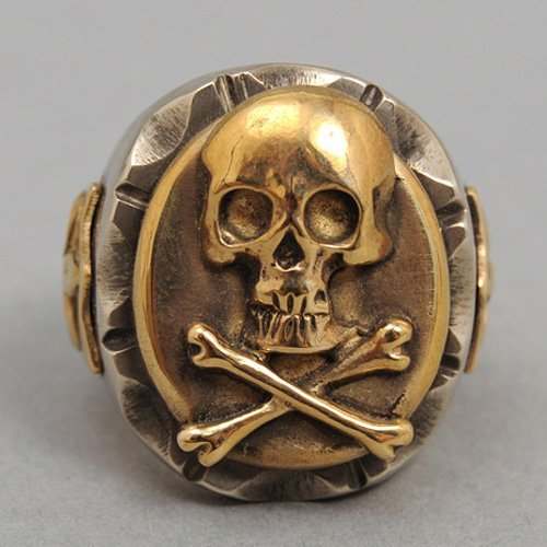 Biker Ring Skull and Crossbones Ring Mens Skull Ring Vintage