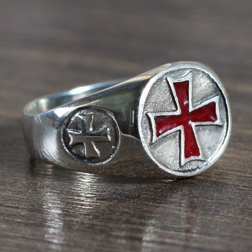 Iron Cross Ring Red Iron Cross Biker Ring
