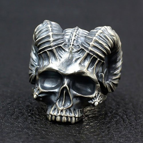 Men's Biker Ring Satanic Demon Skull Ring Goat Head