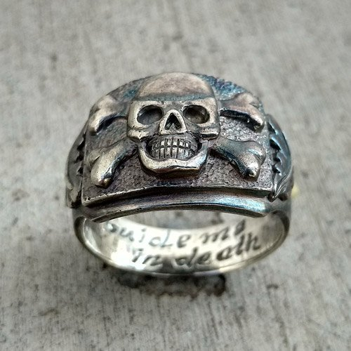 Biker Ring - Death Head Skull and Crossbones Ring Cigar Band