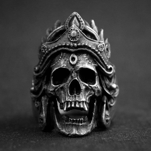 Vintage Men's Biker Skull Ring The Goddess Skull