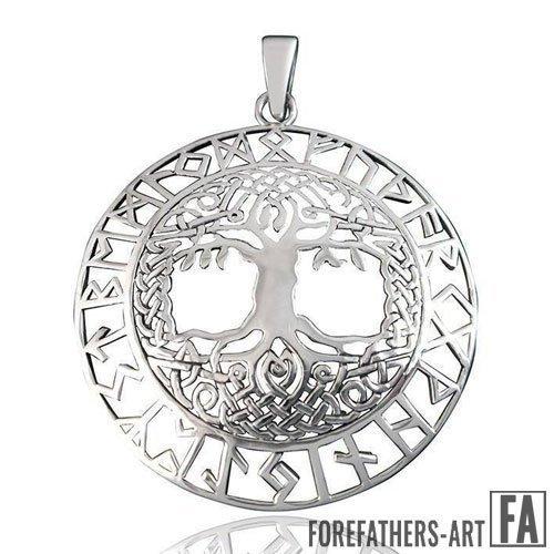 Celtic Tree of Life Pendant Yggdrasil Norse Runes Charm