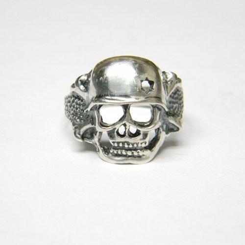 German Skull Ring Helmet Skull Ring