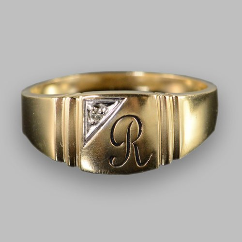 Monogram Ring - Custom Initial Ring One Letter with Diamond