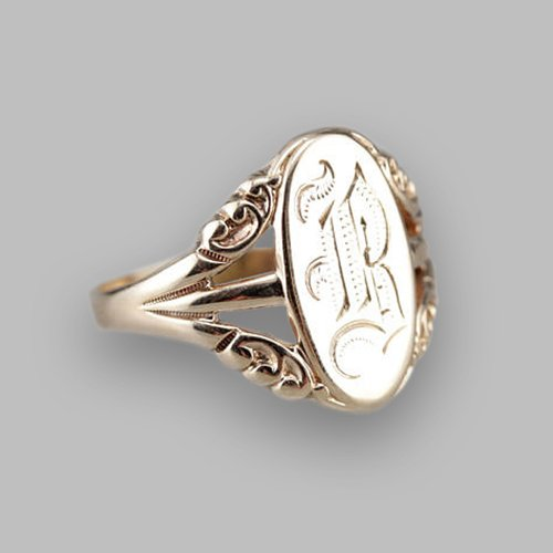 Monogram Ring - Engravable Mothers Ring Ellipse Vintage