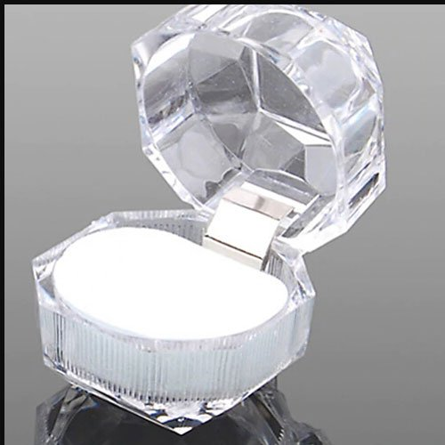 Plastic Transparent Ring Box, 4x4x4cm