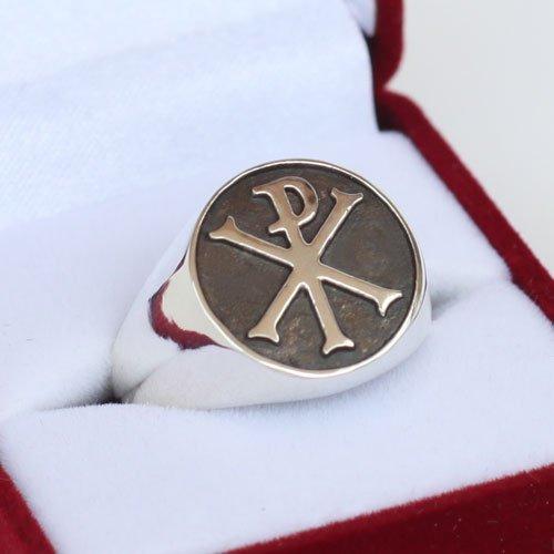 Chi Rho Ring Cross of Constantine Monogram of Christ