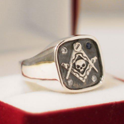Custom Masonic Ring Blue Lodge Masonic Ring Diamonds