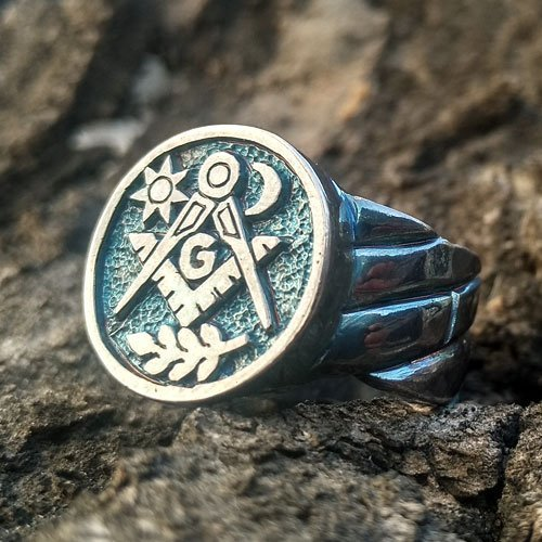 Custom Masonic Ring Freemason Sun and Moon