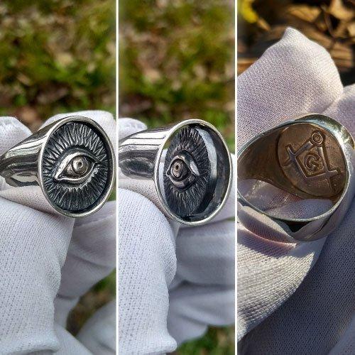 Illuminati Swivel Ring Reversible Masonic Ring