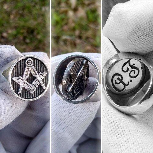 Custom Masonic Ring Reversible Head Ring Initials