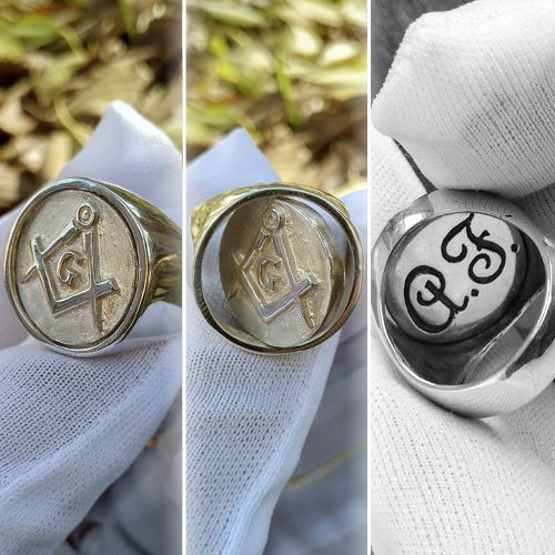 Reversible Masonic Ring Swivel Ring Blue Lodge and Initials