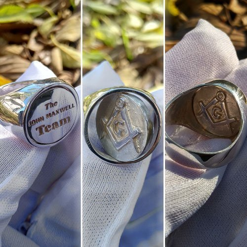 Custom Swivel Ring Personalizer Masonic Ring Square and Compass