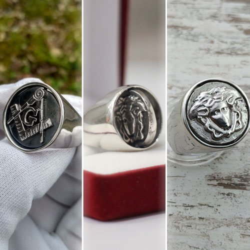 Reversible Head Ring Masonic Flip Ring Double Sided Ring