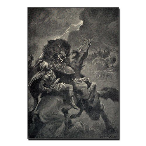Odin Against Fenrir Canvas Wolf and Odin Viking Canvas Print