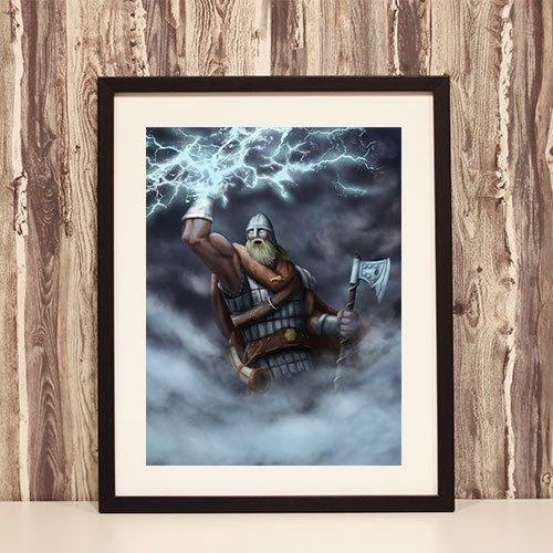 Framed Art Print God of Thunder Perun Helmet Slavic God