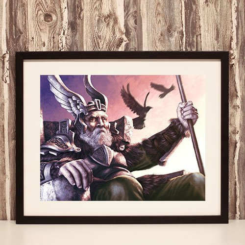 Norse God Odin Framed Art Print Viking Wall Decoration