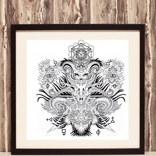 Baphomet Framed Art Print Occult Illuminati Mystic Symbols Wall Decoration