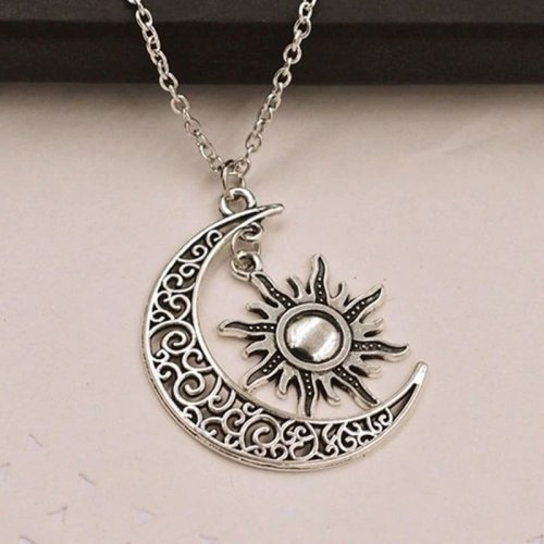 Crescent Moon and Sun Pendant Wiccan Necklace Magic Charm
