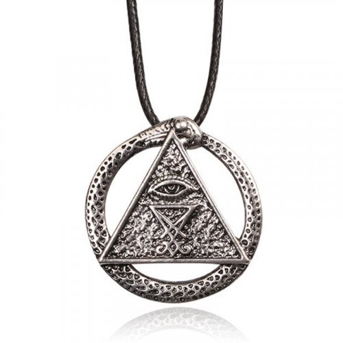 Ouroboros Snake Necklace Evil Eye and Pyramid - Occult Pendant