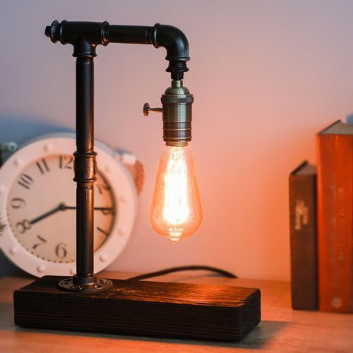 Loft Style Pipe Lamp Industrial Steampunk Desk Lamp Edison Bulb