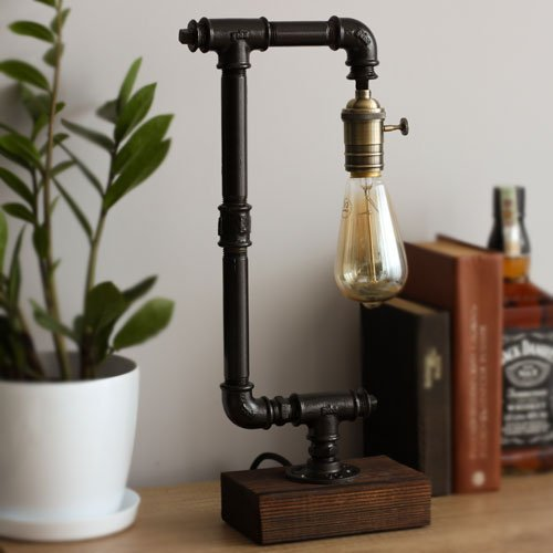 Industrial Pipe Lamp Steampunk Table Lamp Loft Style Edison Bulb