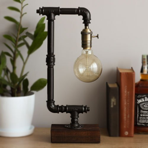Industrial Pipe Lamp Loft Style Steampunk Table Lamp Edison Bulb