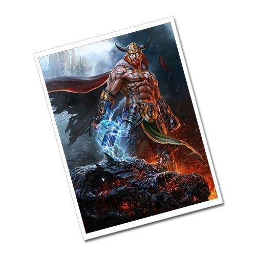 Thor and Mjolnir Viking Artwork Greeting Card Postcard
