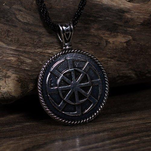 Norse Viking Black Sun Pendant Swastika Sun Wheel Pendant