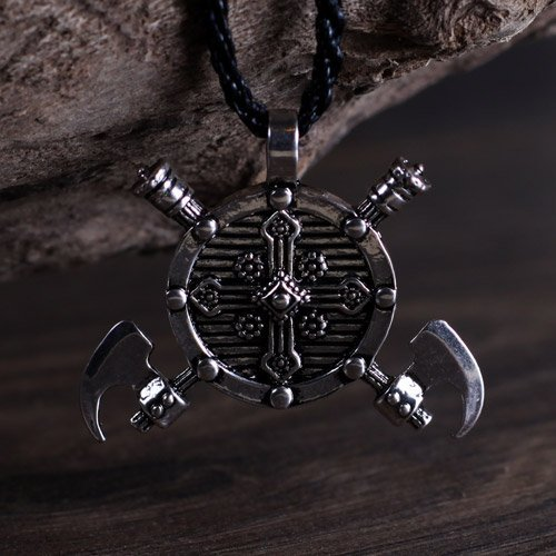 Norse Viking Warrior Amulet Shield and Axes