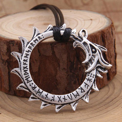 Viking Dragon Head Pendant Futhark Rune Pendant