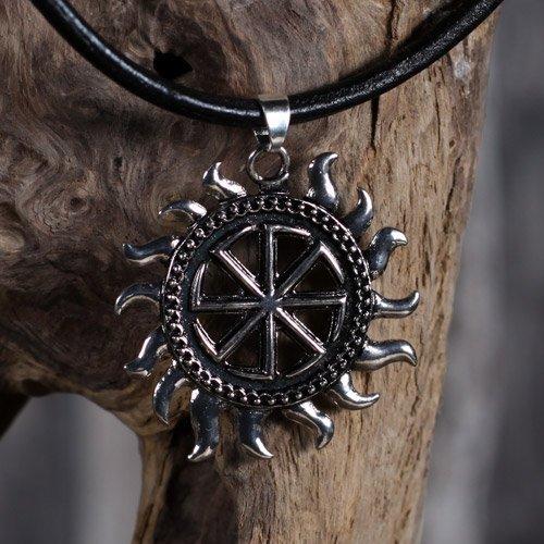 Viking Pendant Black Sun Kolovrat Sun Wheel Pendant