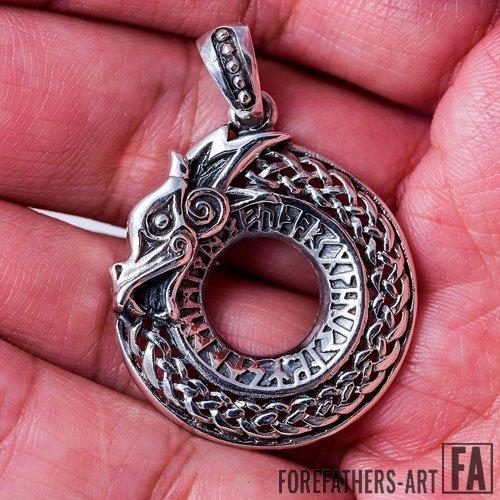 Viking Pendant Dragon Jormungand Runes Futhark