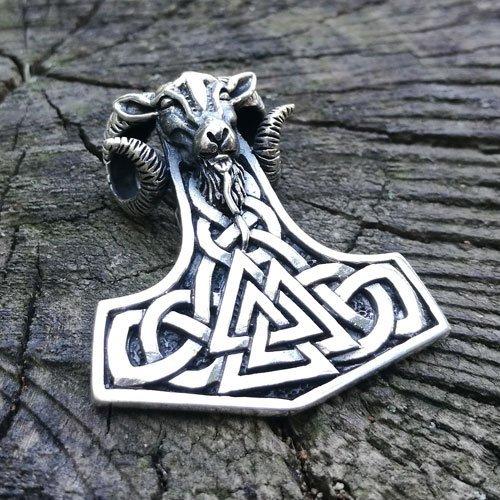 Viking Pendant Mjolnir Ram Amulet Valknut