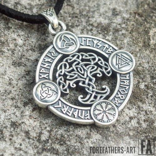 Yggdrasil Pendant Viking Necklace Norse Runes and Symbols