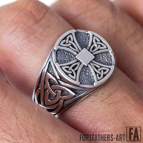 Celtic Knot Knights Templar Ring Iron Cross Triquetra Ring