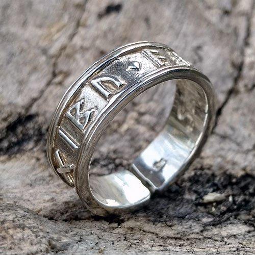 Elder Futhark Ring Viking Norse Band Ring