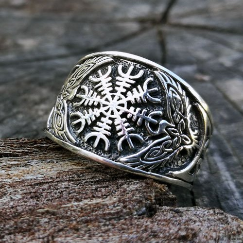 Helm of Awe Aegishjalmur Celtic Ring Celtic Knot and Raven