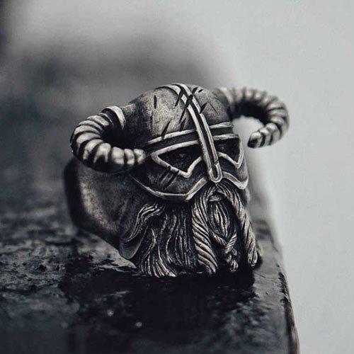 Men's Viking Ring Nordic Horns Helmet Warrior Ring
