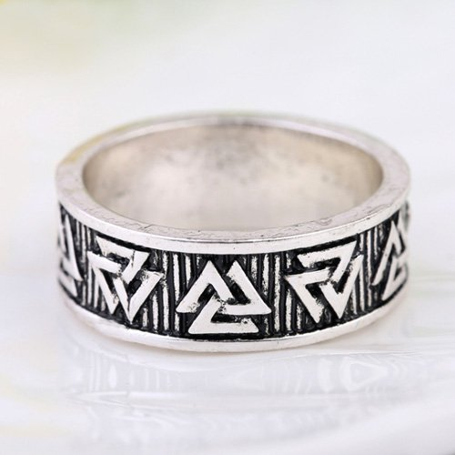 Valknut Band Ring Viking Odins Knot Ring