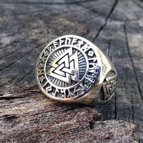 Valknut Ring Viking Norse Ring Futhark Runes Ring