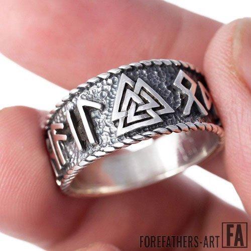 Valknut Ring Viking Runes Band Ring