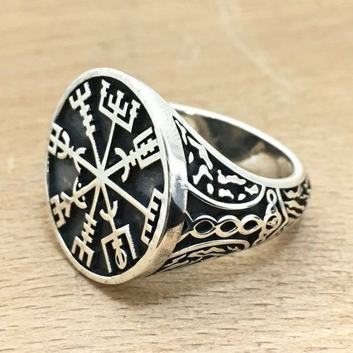 Vegvisir Ring Mjolnir Norse Viking Ring
