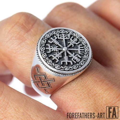 Vegvisir Ring Viking Magical Staves Compass Ring