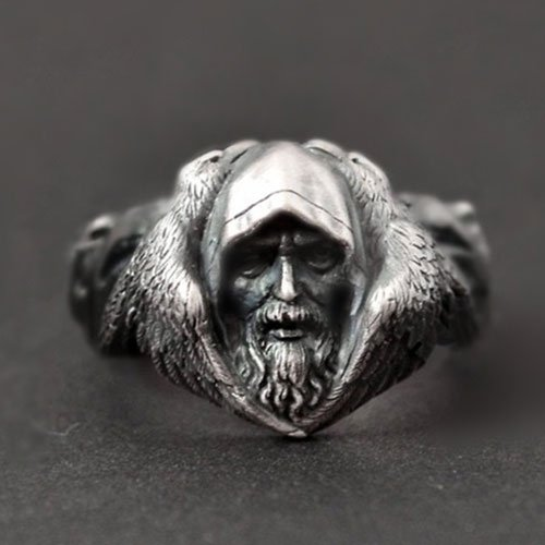 Viking Norse Ring Odin Ring Ravens and Wolves