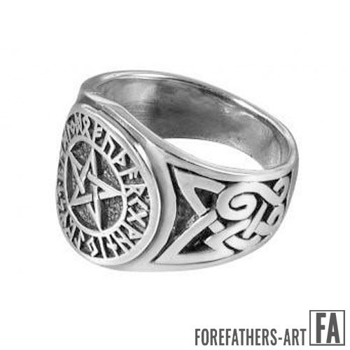 Viking Norse Runes Ring Futhark Pentagram and Celtic Knot Wiccan Ring